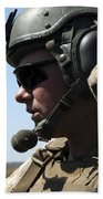 A Soldier Keeps In Radio Contact Beach Towel by Stocktrek Images