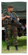 A Soldier Of An Infantry Unit Beach Towel by Luc De Jaeger