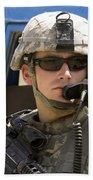 A Soldier Talking Via Radio Beach Towel by Stocktrek Images