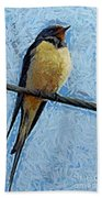 A Swallow On A Wire Beach Towel
