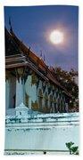 A Tempel In A Wat During A Full Moon Night  Beach Towel