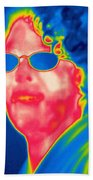 A Thermogram Of A Woman With Glasses Beach Towel