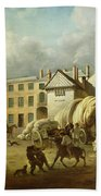 A Town Scene  Beach Towel