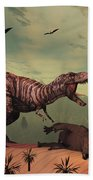 A Triceratops Falls Victim Beach Towel