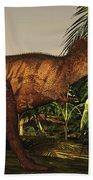 A Tyrannosaurus Rex Runs Beach Towel by Corey Ford