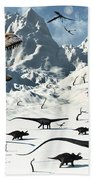 A  Tyrannosaurus Rex Stalks A Mixed Beach Towel
