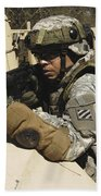 A U.s. Army Soldier Pulls Security Beach Towel