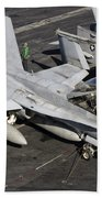 A Us Navy Fa-18c Hornet Parked Beach Towel