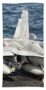 A Us Navy Fa-18c Hornet Tied Beach Towel by Giovanni Colla
