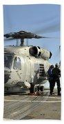 A U.s. Navy Sh-60b Seahawk Helicopter Beach Towel