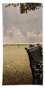 A Wrought Iron Black Metal Bench Under A Tree In The Qutub Minar Compound Beach Towel