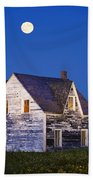 Abandoned House And Moon At Dusk Beach Towel