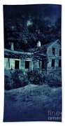 Abandoned House At Night Beach Towel