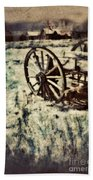 Abandoned Wagon By Old Ghost Town. Beach Towel