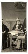 Abraham Lincoln At The First Reading Of The Emancipation Proclamation - July 22 1862 Beach Towel