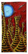Abstract Art Contemporary Coastal Cityscape 3 Of 3 Capturing The Heart Of The City IIi By Madart Beach Towel