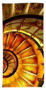 Abstract Golden Nautilus Spiral Staircase Beach Towel