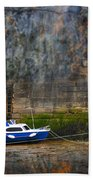 Abstract Harbour And Boat Beach Towel by Svetlana Sewell