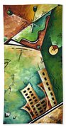 Abstract Martini Cityscape Contemporary Original Painting Martini Hour By Madart Beach Towel