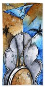 Abstract Martini Tropical Contemporary Original Painting Martini On The Beach By Madart Beach Towel