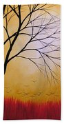 Abstract Original Tree Painting Summers Anticipation By Amy Giacomelli Beach Towel
