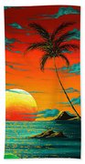 Abstract Surreal Tropical Coastal Art Original Painting Tropical Burn By Madart Beach Towel