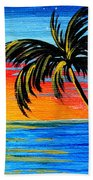 Abstract Tropical Palm Tree Painting Tropical Goodbye By Madart Beach Towel