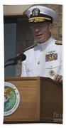 Admiral Mike Mullen Speaks Beach Towel by Michael Wood
