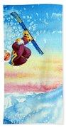 Aerial Skier 13 Beach Towel