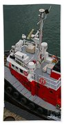Aerial View Of Red Tug  Beach Towel