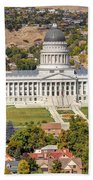 Aerial View Of Utah State Capitol Building Beach Towel by Gary Whitton