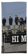 Ailors And Marines Man The Rails Aboard Beach Towel by Stocktrek Images