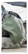 Airman Provides Security At Whiteman Beach Towel by Stocktrek Images