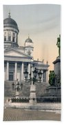 Alexander II Memorial At Senate Square In Helsinki Finland Beach Towel