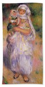 Algerian Woman And Child Beach Towel by Pierre Auguste Renoir