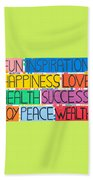 All The Happy Words Beach Towel