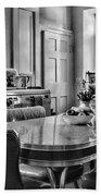 Americana - 1950 Kitchen - 1950s - Retro Kitchen Black And White Beach Towel