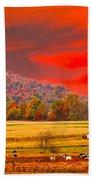 Amish Farm Sundown Beach Towel by Randall Branham