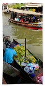 Ampawa Floating Market Beach Towel by Adrian Evans