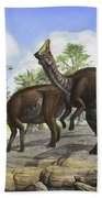 Amurosaurus Riabinini Dinosaurs Grazing Beach Towel