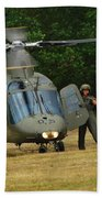 An Agusta A109 Helicopter Beach Towel by Luc De Jaeger