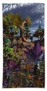 An Alien Being Surveys The Colorful Beach Towel by Mark Stevenson