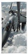 An F-15 E Strike Eagle Receives Fuel Beach Towel by Stocktrek Images