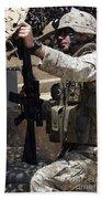 An Infantryman Talks To His Marines Beach Towel