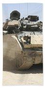 An M2 Bradley Fighting Vehicle Patrols Beach Towel