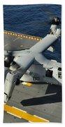 An Mv-22 Osprey Lands Aboard Uss Beach Towel