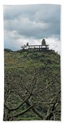 An Old Temple Building On Top Of A Hill With A Lot Of Clouds In The Sky Beach Towel