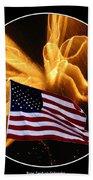 Angel Fireworks And American Flag Beach Towel by Rose Santuci-Sofranko