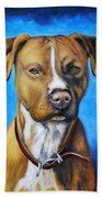 American Staffordshire Terrier Dog Painting Beach Towel
