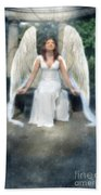Angel On Stone Bench Looking Up Into The Light Beach Towel